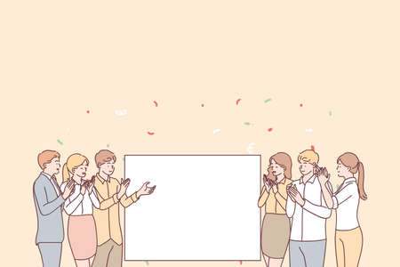 Illustration pour Promotion, demonstration and admiration concept. Group of young smiling positive people office workers standing applauding and looking at white blank mockup for text ad copy space vector illustration - image libre de droit
