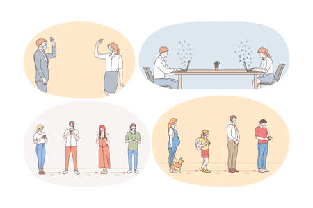 Illustration pour Social Distance, working and living during pandemic concept. People workers, business partners, customers and people in line keeping social distance during Pandemic of Covid 19 infection - image libre de droit