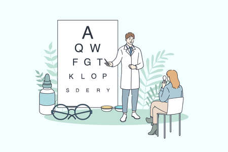 Ophthalmology and ophthalmologist concept. Young man doctor ophthalmologist making eye test using chart for sitting woman patient vector illustration