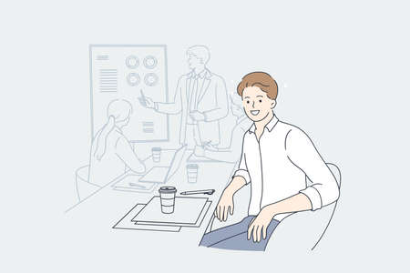 Illustration pour Working in office, presentation, designer concept. Young smiling man designer cartoon character sitting in board room during presentation looking at camera vector illustration - image libre de droit