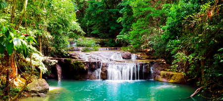 Beautiful panorama of Erawan waterfall  in nationnal park at kanchanaburi province, Thailand.