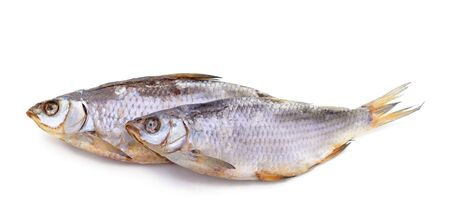 Photo pour Two dried fish isolated on a white background. - image libre de droit