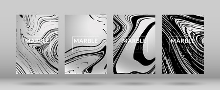Ilustración de Set of  Covers with Marble Texture. Gradient Vector Marble. Silver Textured Cool Cover, Party Flyers, Business Card, Poster Design, Futurist Title Page. - Imagen libre de derechos