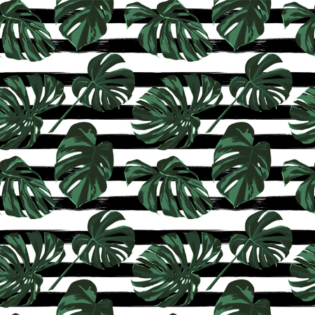 Illustration for Tropical Print. Jungle Seamless Pattern. Vector Tropic Summer Motif with Hawaiian Flowers. Background Texture, Wrapping Paper, Textile, Fabric or Wallpaper. - Royalty Free Image