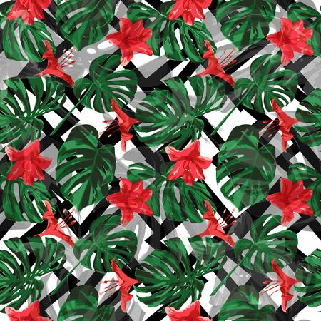 Illustration pour Tropical Plants. Summer Design for Swimwear. Exotic Palm Greenery Backdrop. Repeat Illustration. Vector Tropical Plants Print. - image libre de droit