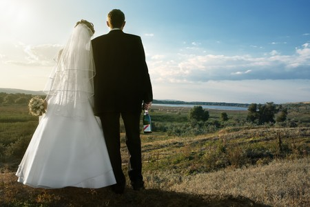 Backs of bride and groom holding champagne against landscape with blue sky