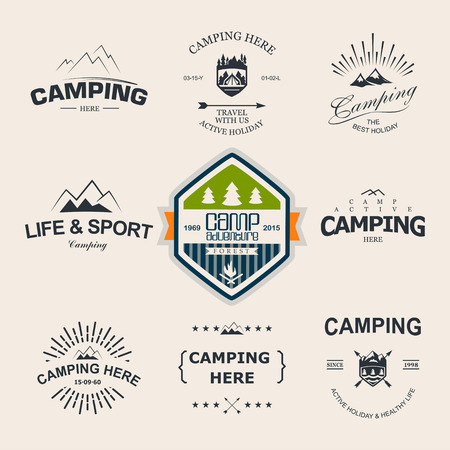 Set of retro badges and label logo graphics. Camping badges and travel logo emblems