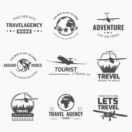 A set of vector design elements for travel agency  Plane