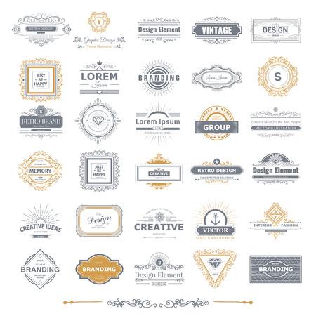 Ilustración de Retro Vintage labels Insignias  set. - Imagen libre de derechos