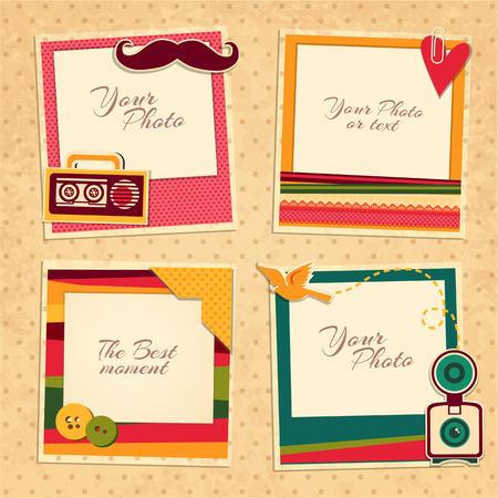 Ilustración de Design photo frames on nice background. Decorative template for baby, family or memories. Scrapbook concept, vector illustration. Birthday - Imagen libre de derechos