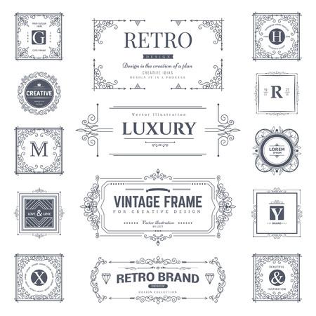 Illustration pour Collection of vintage flourishes calligraphic ornaments and frames. Retro style. Vector template - image libre de droit