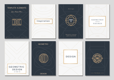 Illustration for Monogram creative cards template with geometric elements. Elegant design for cafe, restaurant, heraldic, jewelry, fashion. - Royalty Free Image
