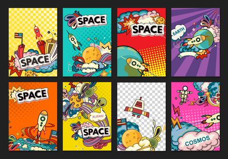 Illustration pour Cartoon vector illustration of space. Moon, planet, rocket, earth, cosmonaut, comet, universe. Classification, milky way. Hand drawn. Comics cosmos. - image libre de droit