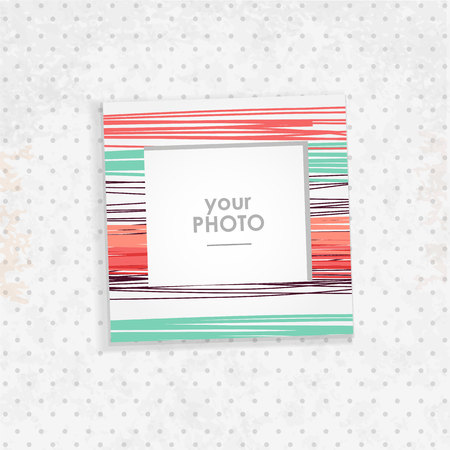 Illustration pour Vintage hipster retro stile. Decorative vector template frame. These photo prame can be use for kid picture or memories, scrapbook concept. Inset your picture. - image libre de droit