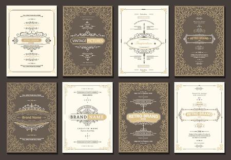 Illustration pour Monogram creative cards template with flourishes ornament elements. Elegant design for cafe, restaurant, heraldic, jewelry, fashion - image libre de droit