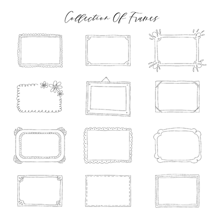 Illustration for Decorative set template photo frames isolated on white background. Scrapbook concept. These photo frames you can use for kids picture or your love story. Vector illustration. - Royalty Free Image