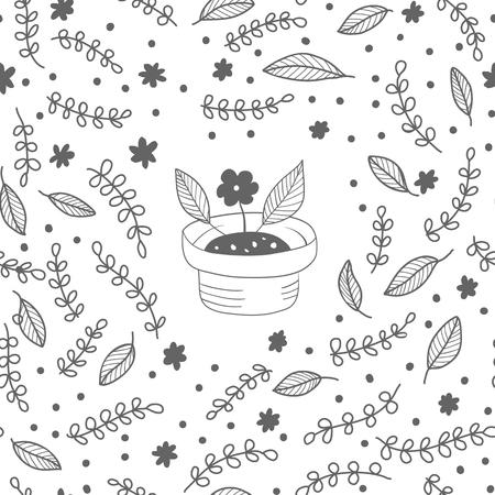 Photo pour Monochrome vector seamless plant pattern. Endless background decorative elements. Modern floral texture. - image libre de droit