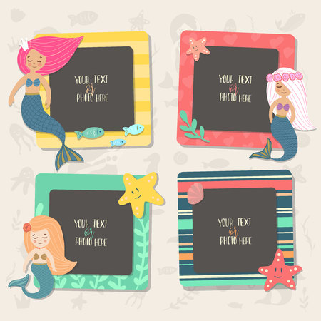Illustration pour Children illustration. These photo frames you can use for kids picture, funny photos, card and memories. Scrapbook design concept. Insert your picture. Vector template frames. - image libre de droit