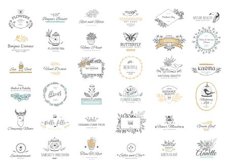 Illustration pour Set of flourishes calligraphic ornaments and frames. Retro and modern style of design elements, signs and logos. Vector template. Collection patterns - image libre de droit