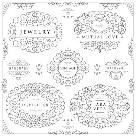 Photo pour Collection of templates. Flourishes calligraphic ornaments and frames. Good for logos, books, jewelry, badges, postcard, banners, signes Vector illustration - image libre de droit
