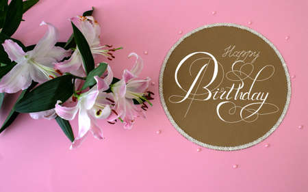 Photo pour postcard or Internet banner with a birthday greeting - image libre de droit
