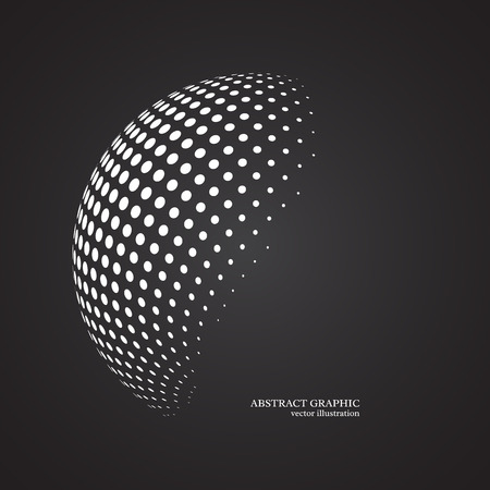 Illustration pour Abstract globe dotted sphere, 3d halftone dot effect. White color, black background. Vector illustration. - image libre de droit