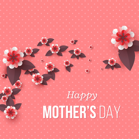 Illustration for Happy Mother's day greeting card. Paper cut flowers, holiday background. Vector illustration. - Royalty Free Image