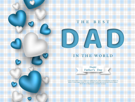 Illustration pour Fathers day greeting card. Paper cut style letters with 3d hearts and checkered pattern. Holiday background. Vector illustration. - image libre de droit
