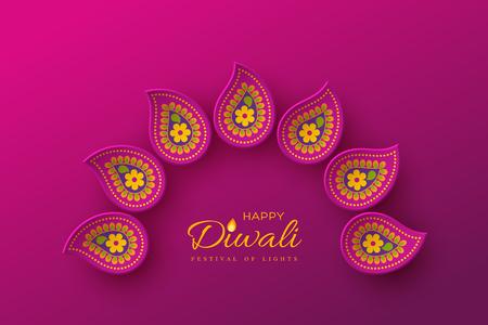 Illustration pour Diwali festival holiday design with paper cut style of Indian Rangoli. Purple color background. Vector illustration. - image libre de droit