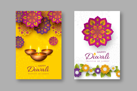 Ilustración de Diwali festival holiday posters with paper cut style of Indian Rangoli, flowers and diya - oil lamp. Yellow and white color background. Vector illustration. - Imagen libre de derechos
