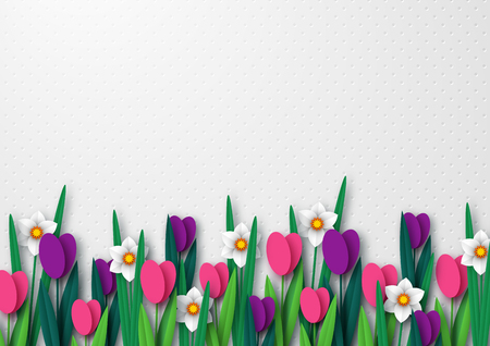 Illustration pour Spring empty template for seasonal holiday design, posters, greetings, cards. Paper cut flowers tulips and narcissus. Copy space. Vector illustration. - image libre de droit