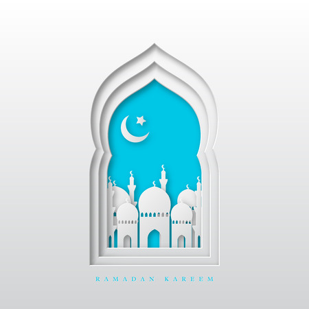 Illustration pour Ramadan Kareem greeting background. 3d paper cut arabic window with mosque and crescent. Design for greeting card, banner or poster. Vector illustration. - image libre de droit