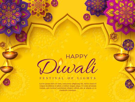 Illustration pour Diwali festival holiday design with paper cut style of Indian Rangoli and hanging diya - oil lamp. Purple color on yellow background. Vector illustration. - image libre de droit