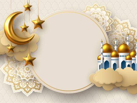 Illustration pour Ramadan Kareem vector card with 3d golden metal crescent, stars, paper cut clouds, mosque and flowers. Copy space. - image libre de droit