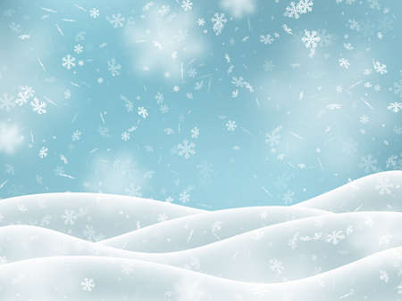 Illustration pour Falling snowflakes with snowdrifts, blur effect. Winter snowy background. Vector illustration. - image libre de droit