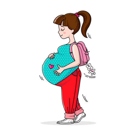 Vektor für Beautiful happy mother to be. Fashion and style for pregnant women. Pregnant teenage girl on the walk. Cute big pregnant belly. Pregnancy illustration for card and print. - Lizenzfreies Bild