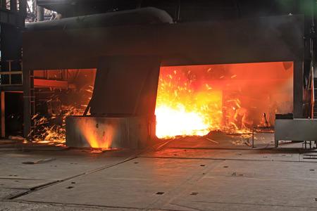 iron works blast furnace flame, closeup of photo