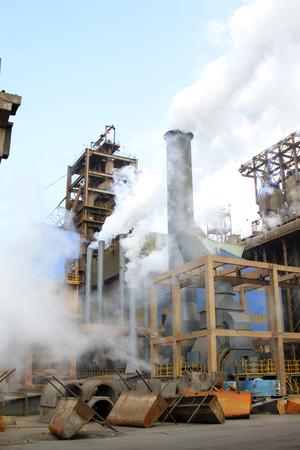 blast furnace in the steel mills, closeup of photo