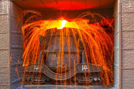 TANGSHAN - JUNE 20: Transportation molten iron crucible, on June 20, 2014, Tangshan city, Hebei Province, China
