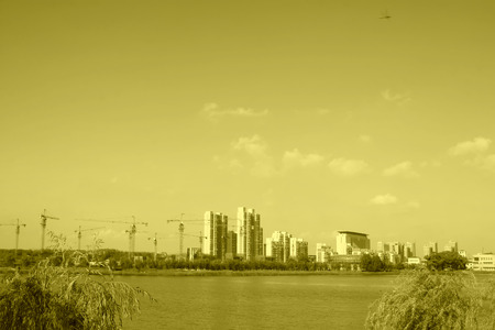 Urban landscape in the autumn, closeup of photo, China