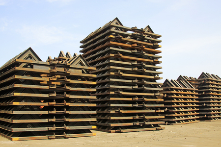 Piles of steel components