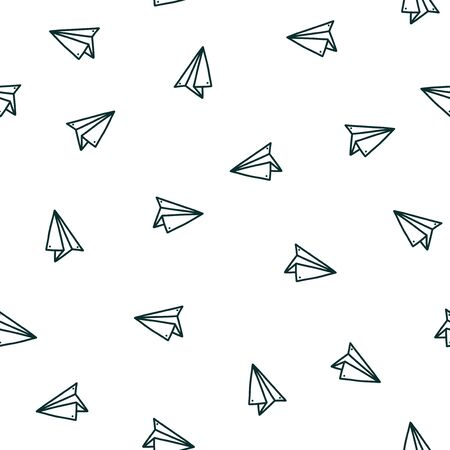Foto für Seamless pattern with handmade paper plane. Hand drawn vector illustration in doodle style. Print with origami planes - Lizenzfreies Bild