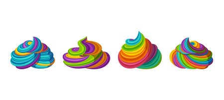 Illustration pour Swirled rainbow frosting for icecream and cupcakes. Tasty cream isolated in white background. Vector illustration in cute cartoon style - image libre de droit