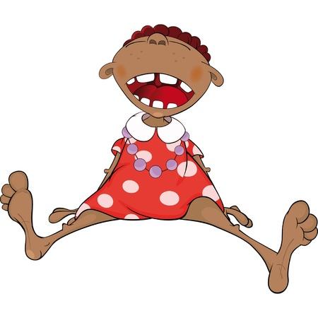 Smiling African American girl. Cartoon