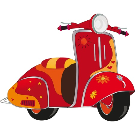 Illustration pour Motor scooter for hippie. Cartoon  - image libre de droit