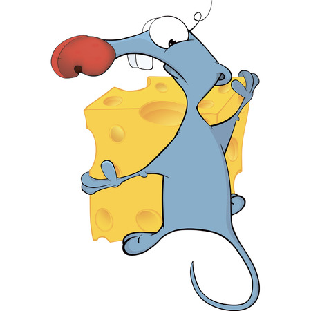 Little mouse and cheese cartoon
