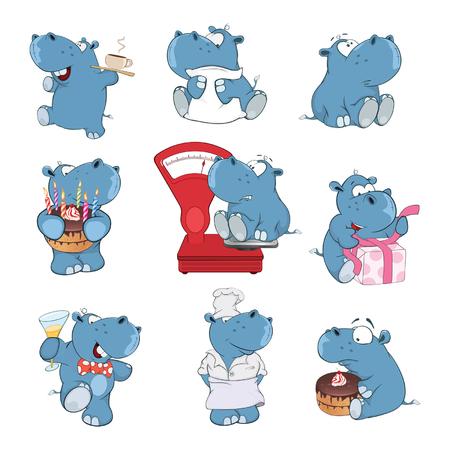 Ilustración de Set of cartoon illustration. A cute hippo for you design illustration. - Imagen libre de derechos