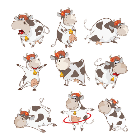 Ilustración de Set of Cute Cow Cartoon Illustration. - Imagen libre de derechos