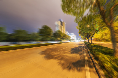 Night city road in speed mode