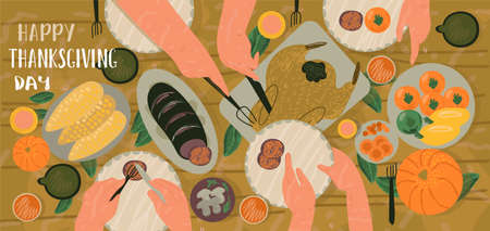 Illustration pour Celebrating Thanksgiving day creative concepts. Family Tradional dinner with traditional food. Family eating various snacks and roast turkey. Hand draw flat vector illustration in trendy style. - image libre de droit